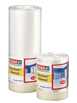 Masking film with slightly creped adhesive paper tape -   Tesa 4368 Easy Cover (Drop Sheet Masking System)