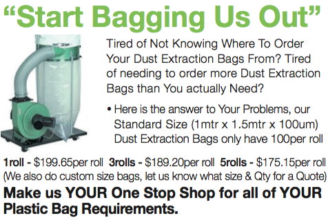 Dust Extraction Bags Available Here. We Have Standard Sizes & Can Make To Order
